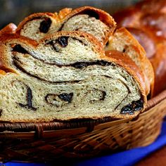 Chocolate Cinnamon Raisin Swirl Challah- recipe for Challah using the bread machine is also included in this pin.