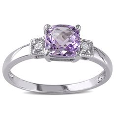 M by Miadora Sterling Silver Amethyst and Diamond Accent Ring (Size 8.5), Women's, Purple