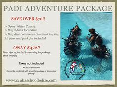 Here is our best SELLER PACKAGE! Whether you are traveling solo or in a group this package perfect for you. #scubaschoolbelize #Belize #padi #sanpedro #ambergriscaye #scubadiving #vacation #thegreatbluehole