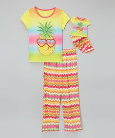 Another great find on #zulily! Pineapple Pajama Set & Doll Outfit - Girls #zulilyfinds