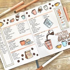 Weekly spread Coffee doodles are so fun 😍☕. Bullet Journal 2019, Bullet Journal Notebook, Bullet Journal School, Bullet Journal Ideas Pages, Bullet Journal Layout, Bullet Journal Inspiration, Notebook Doodles, Bullet Journals, Recipe Book Design