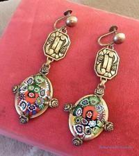 Vintage Antique Italian Millefiore Glass Brass Chandelier Earrings