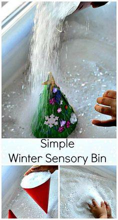 Sparkly pretend snow  in an simple winter sensory bin. Make snowy trees - 2 ways. #winteractivitiesforkids #sensorybins. Pinned by The Sensory Spectrum pinterest.com/sensoryspectrum
