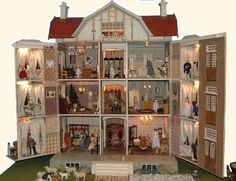 maisondepoupees poupendol= poupees puppen dolls (jt-exterior of this Moritz Gottschalk Dollhouse pinned alongside. click for info and pics of individual rooms)