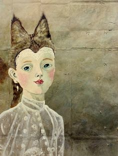 Detail, 'Lynx' (2011) by Seattle-based German-born painter Anne Siems. Mixed media on paper/canvas, 30 x 78 in. via the artist's site