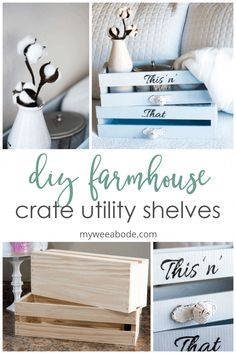 DIY Farmhouse Crate Shelves – my wee abode This diy project teaches you how to create farmhouse style utility shelves out of unfinished wood crates! Great for home decor too! Decor Crafts, Diy Home Decor, Coastal Decor, Easy Crafts, Unfinished Wood Crates, Farmhouse Decor, Farmhouse Style, Coastal Farmhouse, Utility Shelves