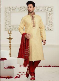 Beige Cotton Mens Sherwani   #wedding sherwani #mens wear #chennai online #trendy designs #latest designs of dresses #new trends #dresses in online #dresses for offers