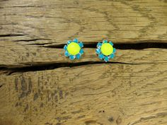Tiny Neon Yellow & Turquoise Crystal Stud by rockspapermetal, $12.50