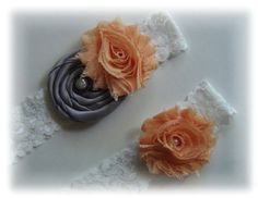 Peach and gray wedding garter set