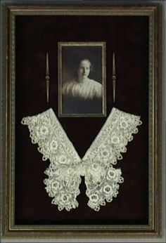 Combining an antique photograph of a relative with her hand made crocheted neck piece is an heirloom to pass down for generations. The photo is surrounded by a fillet that compliments both the art and the shadowbox frame choice