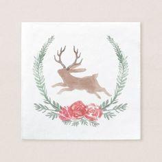 Woodland Jackalope Christmas Paper Napkin