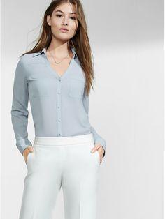 Express • R29 Editor Pick Slim Fit Convertible Sleeve Portofino Shirt $25