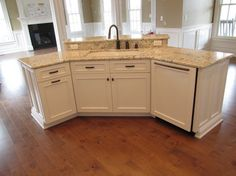 Twin Spires Cabinetry - traditional - kitchen cabinets - other metro - WoodArt Fine Cabinetry Kitchen Island Shapes, Kitchen Island With Sink And Dishwasher, Kitchen Island Decor, Kitchen Island With Seating, Kitchen Redo, Kitchen Remodel, Kitchen Islands, Kitchen Tips, Kitchen Ideas