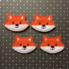 Cute Fox Face, Orange and White, FELTIE, Felt Appliques, Embroidered Felty Stitchies, Set of 4