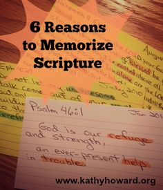 """""""6 Reasons to Memorize Scripture"""" - Need a reason to memorize Scripture? Here are 6! Memorizing God's Word firmly plants His truth so God can minister to you in powerful & personal ways."""