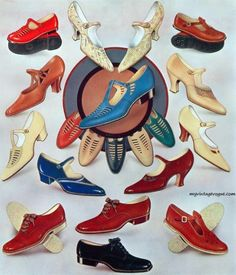 A great selection of 1930s shoe styles. #vintage #shoes #ad #1930s #fashion