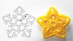 How to crochet a ball flower (long stitch . How to crochet . How to crochet a ball flower (long stitch . How to crochet a ball flower (long stitch . Crochet Star Patterns, Crochet Stars, Crochet Motifs, Christmas Crochet Patterns, Crochet Snowflakes, Crochet Diagram, Crochet Flowers, Knitting Patterns, Crochet Bunny
