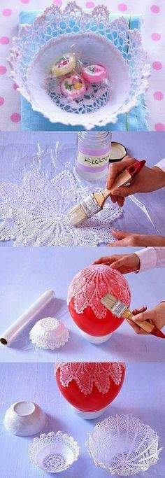 """DIY Lacy Napkin Charming Vase DIY Projects I have an idea for you today like always."", ""DIY Lace Bowls diy craft crafts craft ideas easy crafts diy i"