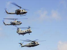 UH-1 Huey, AH-1 Cobra, CH-46 Sea Knight, CH-53 Sea Stallion