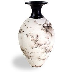 Horsehair pottery vase with black lacquer finish, artist unknown.