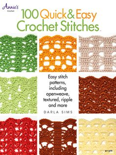 Learn how to crochet faster than ever with this book by Darla Sims.     Patterns consist of mostly double crochet stitches and chains to work up quickly. It will show you ways to crochet faster by changing a single crochet to a taller stitch such as a half double crochet, double crochet or even a treble crochet stitch or by using a larger hook. Included are tips on turning chains, gauge and how to make any project the same dimension and reduce your time to work the over-all piece.
