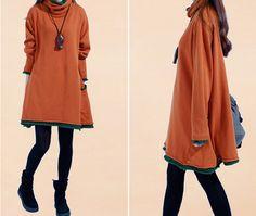 Frauen beiläufige lose Baumwolle Pullover Strickkleid - Tkdress - 7