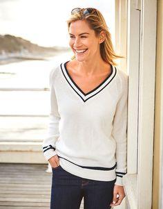 Women's Carron V-Neck in White Linen/Navy from Crew Clothing