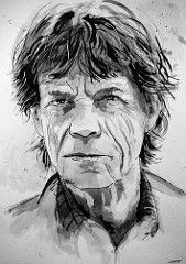 Mick Jagger retrato # 2 (geertvanleeuwen.com) Tags: o retrato da arte música músico lápis rocha pintura da aguarela pedras pintura cantor escova rolo de mick jagger lenda rolando aquarel