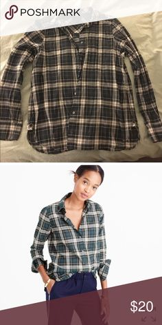 J Crew crinkle plaid boy shirt Size 12 Cotton shirt in green, navy and a little red. Runs a little big. J. Crew Tops Button Down Shirts