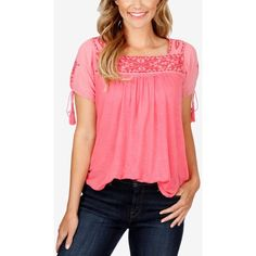 Lucky Brand takes your casual style in a boho direction with pretty embroidery and tassel ties on this easygoing peasant top.