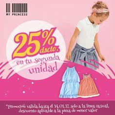¡¡ Aprovecha ahora !! Compra una prenda temporada verano, y obtén un 25% de descuento en la segunda unidad. Visítanos Poupin 1064 - Boulevard Maria Betania - Antofagasta www.myprincess.cl