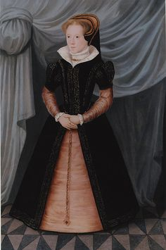 Queen Mary l daughter of Henry Vlll & Catherine of Aragon succeeded her half brother Edward Vl to the throne at the age of 37. She ruled from 1553-1558.