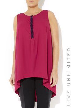 Pink Embellished Longline Top