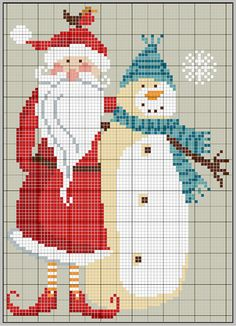 Santa and Snowman...free pattern...dmc color chart on website!