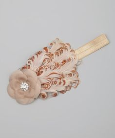 Take a look at this Tan & Cream Sequin Flower Feather Headband by Sweet Charlotte on #zulily today!