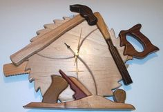 Nice woodworking clock intarsia