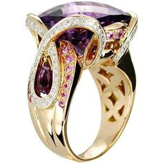 18k gold amethyst, pink sapphire and diamond ring