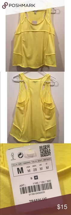 🔥2 FOR $20 NWT Zara Trafaluc Yellow Tank Top Med Zara Trafaluc Yellow Workout Tank Top with mesh back, new with tags, in size medium Zara Tops Tank Tops