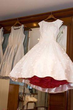 Tea Length Wedding Dress with White on White Polka Dots