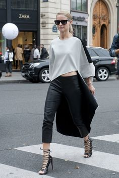 Très Chic! The Best Street Snaps at Paris Fashion Week: A standout silhouette and a great pair of heels made the look.