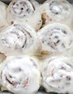The best Cinnamon Rolls ever. Soft doughy rolls with a gooey filling, topped with a perfect cream cheese frosting. To die for!