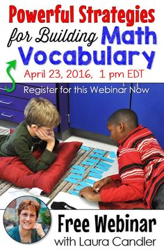 Have you signed up for my free webinar, Powerful Strategies for Building Math Vocabulary? You'll LOVE the easy-to-implement resources, games, and activities to help kids deepen their understanding of math concepts and vocabulary! You might even be able to get PD credit for attending! Click for details.
