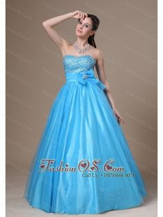 Beading and Bowknot Decorate Bodice A-line Tulle and Taffeta Prom / Evening Dress For 2013- $153.76  http://www.fashionos.com  http://www.facebook.com/wedding.fashionos.us  This stunning blue dress is featured with a sweetheart neckline with exquisite beads encrusted on it. The ruching waistband with a tasteful bowknot give the dress a cut and funning look, adding the charming. A-line shaped gown makes the dress look puffy and full.