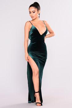 Galant Velvet Dress - Hunter Green