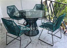 Mesa comedor tejida para cuatro personas ,vidrio de 9 mm uso interiores y exteriores. Garden Furniture, Furniture Decor, Outdoor Furniture Sets, Furniture Design, Outdoor Rooms, Outdoor Living, Outdoor Decor, Funky Sofa, Macrame Chairs