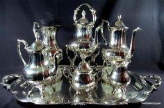 7 Piece Sheridan Silverplate Tea/Coffee Tilting Pot Sugar Cream Tray Service Set
