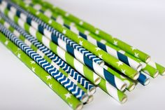 SeaTTle SeaHawKs paper straws green and blue party supplies tailgate football navy chevron striped by TheShindiggityShoppe on Etsy