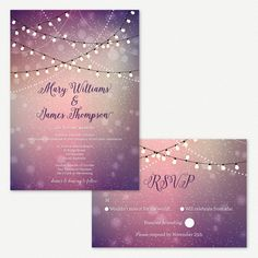 Wedding Invitations Twinkle Lights Outdoor Wedding Fairy Lights