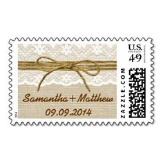 Ivory Lace & Rustic Twine Bow Burlap Wedding Stamp