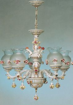 Italian Capodimonte chandelier. Sweet roses. Would look great with a medallion.